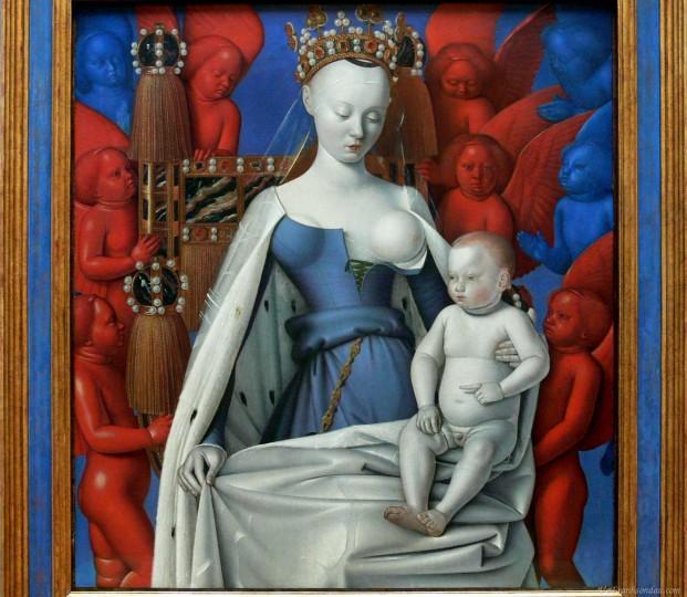 """Jean Fouquet: """"Madonna mit Kind und Engeln"""" um 1450, ©  Koninklijk Museum voor Schonen Kunsten, Antwerpen"""