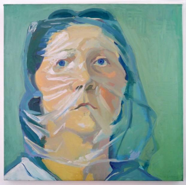 """Selbstporträt von Maria Lassnig (*1919).  Zusammen mit Marisa Merz (*1931) erhielt sie den """"Goldenen Löwen"""" für ihr Lebenswerk. Im PALAZZO ENCICLOPEDICO sind Arbeiten beider Künstlerinnen zu sehen."""