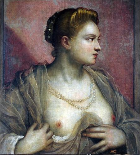 """Jacopo Robusti """"Tintoretto"""": Bildnis einer Frau mit entblößter Brust"""