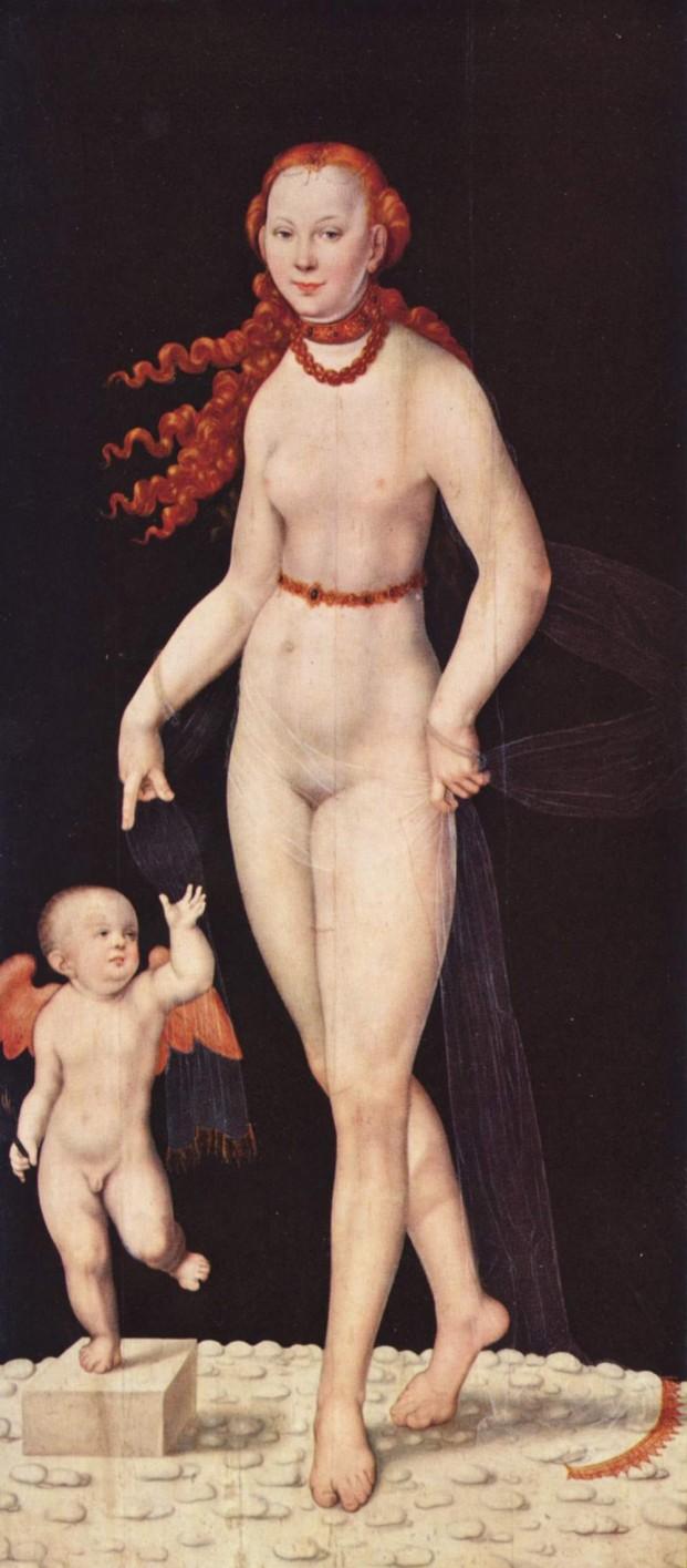"""Lucas Cranach """"Venus und Cupido""""© Alte Pinakothek München. Unvoreingenommen  könnte in diesem Bild auch Maria mit dem Jesusknaben sehen."""