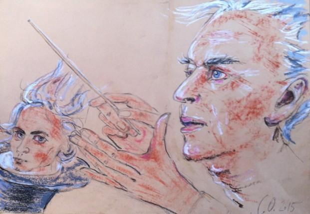 """Herbert von Karajan zaubert Ludwig van Beethoven"" Zeichnung von Carlos Obers © 2015"